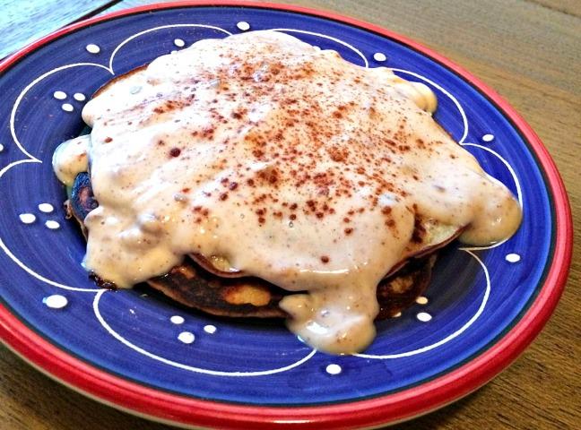 banana choco chip pancakes